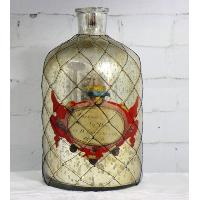 Mercury Glass Bottle with Vintage Latin Label