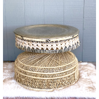 Moroccan Wicker Side Table with Brass Tray