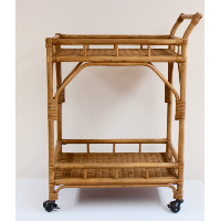 Two Tier Wicker Bar Cart