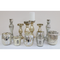 Assorted Mercury Glass Candleholders
