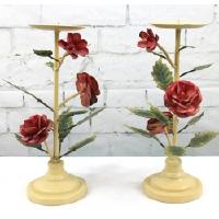 Italian Rose Toleware Candle Holder Pair