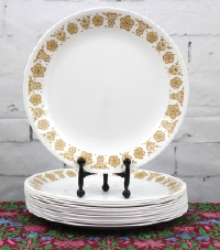 1970s Corelle Butterfly Gold Dinner Plates