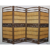 Folding Wood and Wicker Room Screen