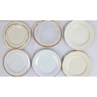 Gold, Glass, and Ivory Fine China Dinner  Plates