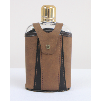 Retro Flask With Leather Case