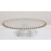 Depression Glass Cake Stand With Gold Beaded Rim