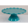 Teal Cake Stand With Scalloped Edges