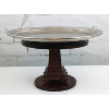 Stainless Plate with Ornate Wooden Pedestal