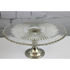 Cut Glass Cake Stand  with Silver Pedestal