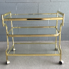 Three-Tiered Brass and Glass Bar Cart