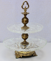 Antique Brass/Cut Glass Tiered Serving Stand