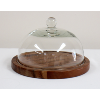 Small Wood Dessert Plate With Glass Dome