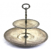 Two-Tiered Silver Metal Serving Plate