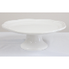 White Ironstone Cake Stand With Scalloped Edge
