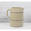 Stoneware Pitcher w/Handle and Blue Stripe