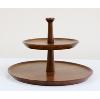 Black Walnut 2 Tiered Wooden Cake Stand