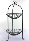 Two-Tier Black Wire Basket Stand