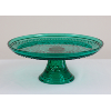 Turquoise Glass Diamond-Patterned Cake Stand