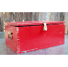 Rustic Wood Box with/Hinged Lid in Red