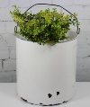 White Enamelware Bucket w/wire Handle