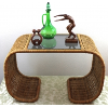 Wicker and Glass Curved Coffee Table