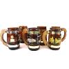 Wood-Handled Amber Brown Glass Beer Mugs