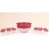 Cut Glass Cranberry Punchbowl and 12  Cups