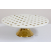 Cake Stand with Gold Base & Polka Dots
