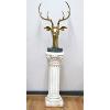 Large Brass Deer Head on White Pedestral