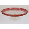 Diamond Cut Glass Cake Stand With Cranberry Rim