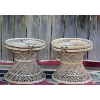Matching Round Wicker  Side Tables