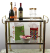 Two-Tier Brass & Glass Rolling Bar Cart