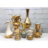 Miniature Bud Vase Collection in Gold and White