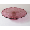 Pink Glass Cake Stand With Vine Pattern