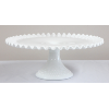 Pleated Milk Glass with Hobnail Base
