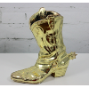 Brass Cowboy Boot Vase