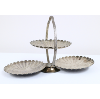 Fold Down Silver Dessert Stand With 3 Flower Shaped Plates
