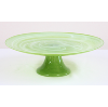 Green Glass Cake Stand With Swirled Pattern