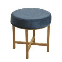 Blue Fabric Stool - Round
