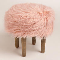 Furry Stool - Rose