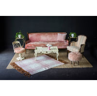 French Rose Velvet Sofa