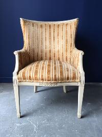 Gold Velvet Striped Chair