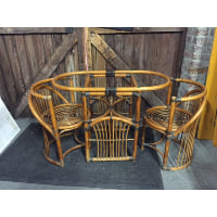 Rattan oblong table and chairs