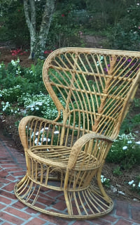 Curved Back Wicker Chair