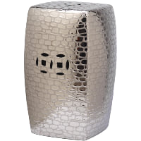 Silver Pebbled Garden Stool