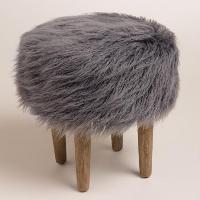 Furry Stool - Gray