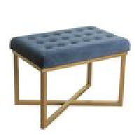 Blue Fabric Stool - Tufted