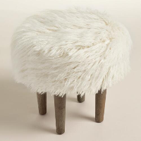 Furry Stool - Ivory