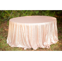 Round Champagne Sequin Tablecloth