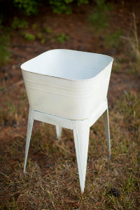 White Washtub on Stand